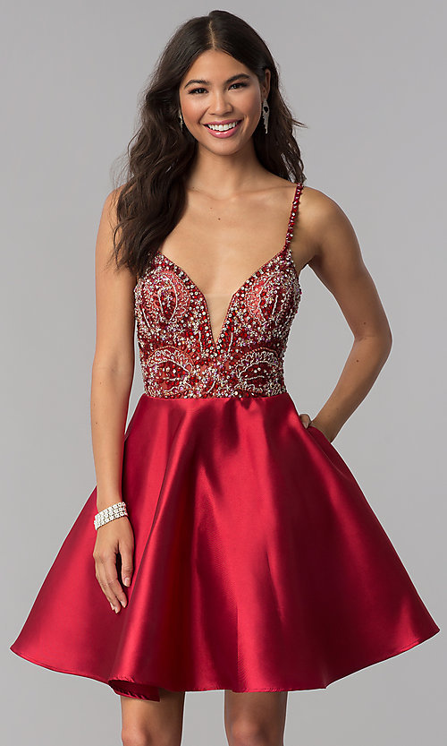 Image of short satin JVNX by Jovani homecoming dress. Style: JO-JVNX53168 Detail Image 1