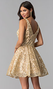 Image of JVNX by Jovani gold glitter short homecoming dress. Style: JO-JVNX65985 Back Image