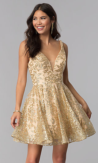 1f971eb0ea JVNX by Jovani Gold Glitter Short Homecoming Dress