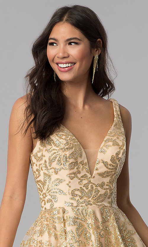 51941a487bd Image of JVNX by Jovani gold glitter short homecoming dress. Style:  JO-JVNX65985