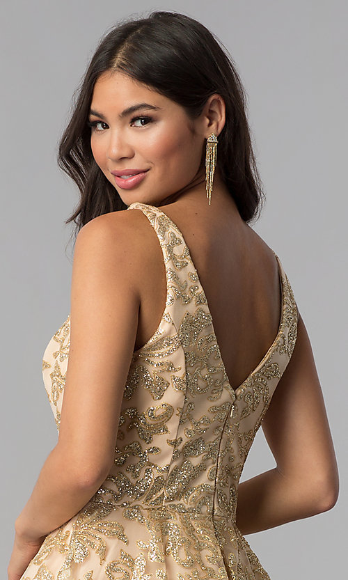 Image of JVNX by Jovani gold glitter short homecoming dress. Style: JO-JVNX65985 Detail Image 2