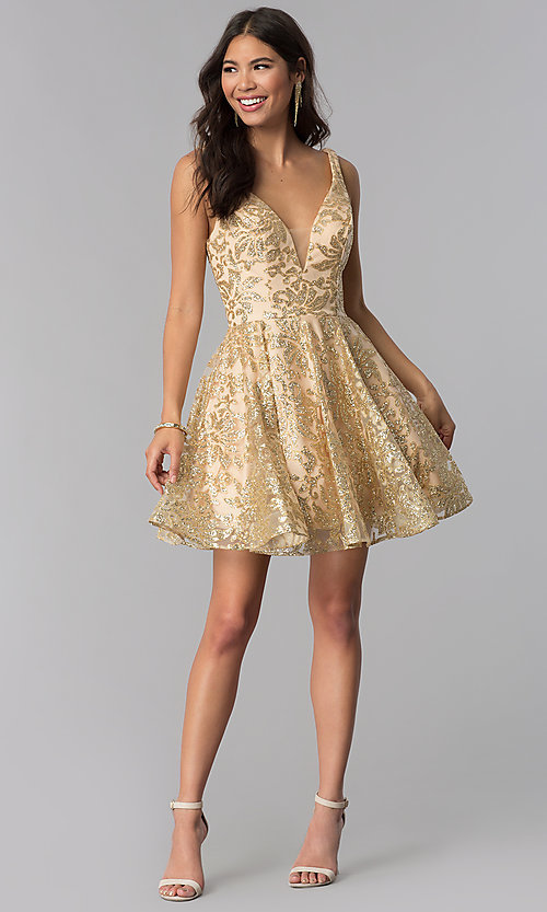 Image of JVNX by Jovani gold glitter short homecoming dress. Style: JO-JVNX65985 Detail Image 3