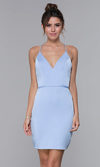 Short JVNX by Jovani Light Blue Homecoming Dress