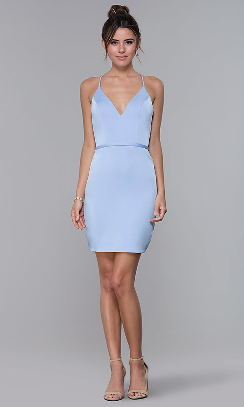 Image of short JVNX by Jovani light blue homecoming dress. Style: JO-JVNX66630 Detail Image 3