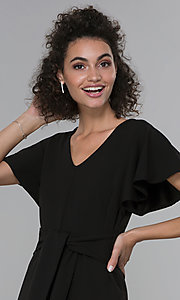 Image of black wide-leg flutter-sleeve jumpsuit for parties. Style: JU-TI-t2422v Detail Image 1