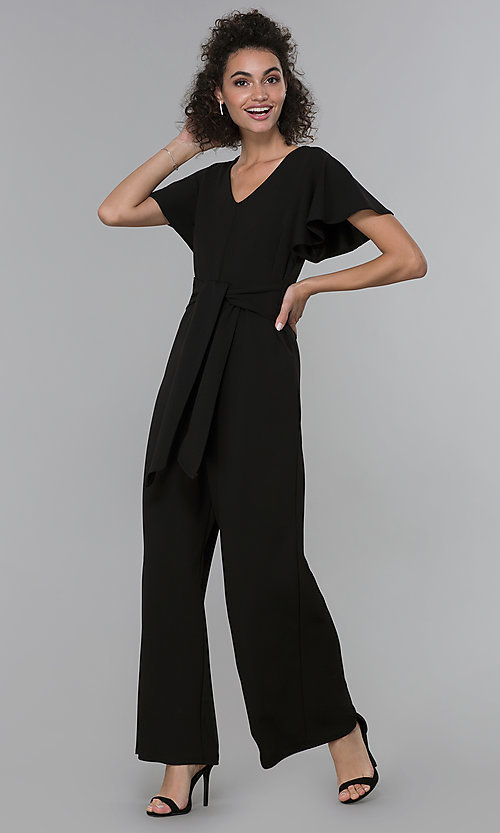 Image of black wide-leg flutter-sleeve jumpsuit for parties. Style: JU-TI-t2422v Front Image