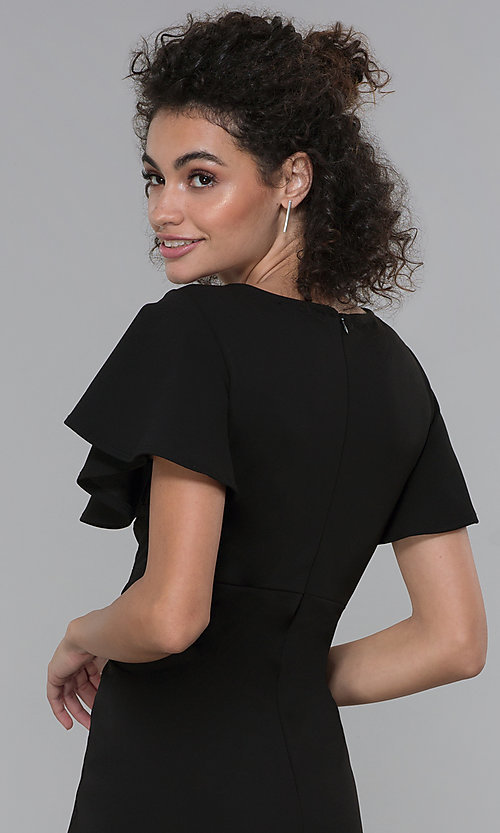 Image of black wide-leg flutter-sleeve jumpsuit for parties. Style: JU-TI-t2422v Detail Image 2