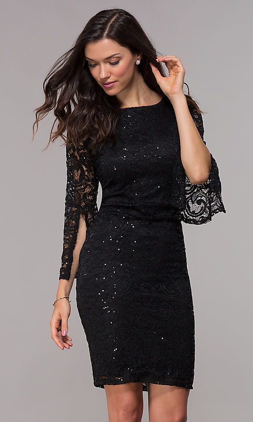 86581163 Image of sequin-lace cocktail dress with 3/4 split sleeves. Style: