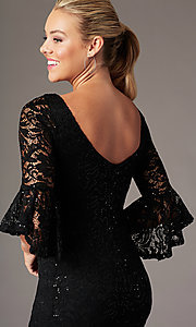 Image of 3/4-bell-sleeve knee-length wedding-guest dress. Style: JU-TI-t1987 Detail Image 2