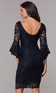 Image of 3/4-bell-sleeve knee-length navy wedding-guest dress. Style: JU-TI-t1987 Back Image