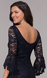 Image of 3/4-bell-sleeve knee-length navy wedding-guest dress. Style: JU-TI-t1987 Detail Image 2