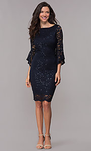 Image of 3/4-bell-sleeve knee-length navy wedding-guest dress. Style: JU-TI-t1987 Detail Image 3