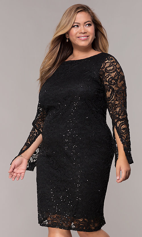 Plus Size Long Sleeve Sequin Lace Party Dress Promgirl
