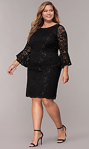 Image of knee-length plus-size 3/4-sleeve party dress. Style: JU-TI-t91987 Detail Image 3