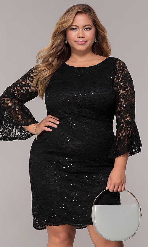Image of knee-length plus-size 3/4-sleeve party dress. Style: JU-TI-t91987 Front Image
