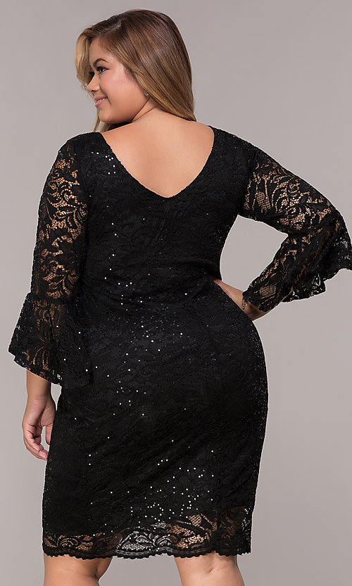 Image of knee-length plus-size 3/4-sleeve party dress. Style: JU-TI-t91987 Back Image