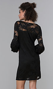 Image of short 3/4-sleeve black lace wedding-guest dress. Style: JU-TI-t1717 Back Image