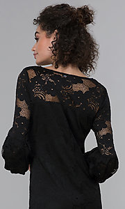 Image of short 3/4-sleeve black lace wedding-guest dress. Style: JU-TI-t1717 Detail Image 2