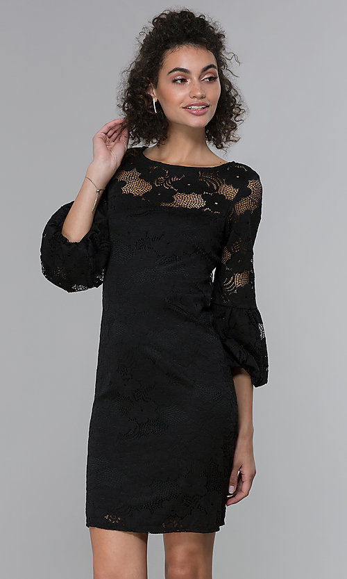Image of short 3/4-sleeve black lace wedding-guest dress. Style: JU-TI-t1717 Front Image