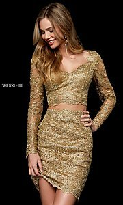 Image of two-piece lace short gold hoco dress by Sherri Hill. Style: SH-52243 Front Image