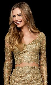 Image of two-piece lace short gold hoco dress by Sherri Hill. Style: SH-52243 Detail Image 1