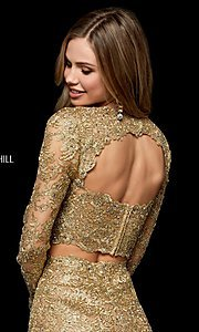 Image of two-piece lace short gold hoco dress by Sherri Hill. Style: SH-52243 Detail Image 2