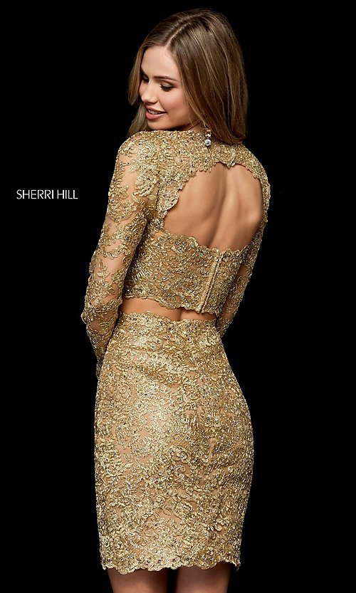 Image of two-piece lace short gold hoco dress by Sherri Hill. Style: SH-52243 Back Image