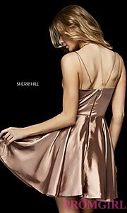 Image of fit-and-flare Sherri Hill silk homecoming dress. Style: SH-52253 Back Image