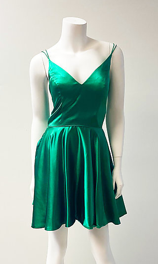 Short Fit-and-Flare Silk Homecoming Dress