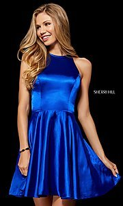 Image of high-neck homecoming dress with back cut out. Style: SH-52254 Front Image
