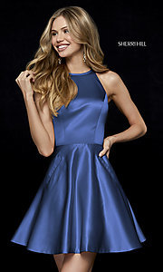 Image of Sherri Hill short homecoming dress with pockets. Style: SH-52232 Front Image