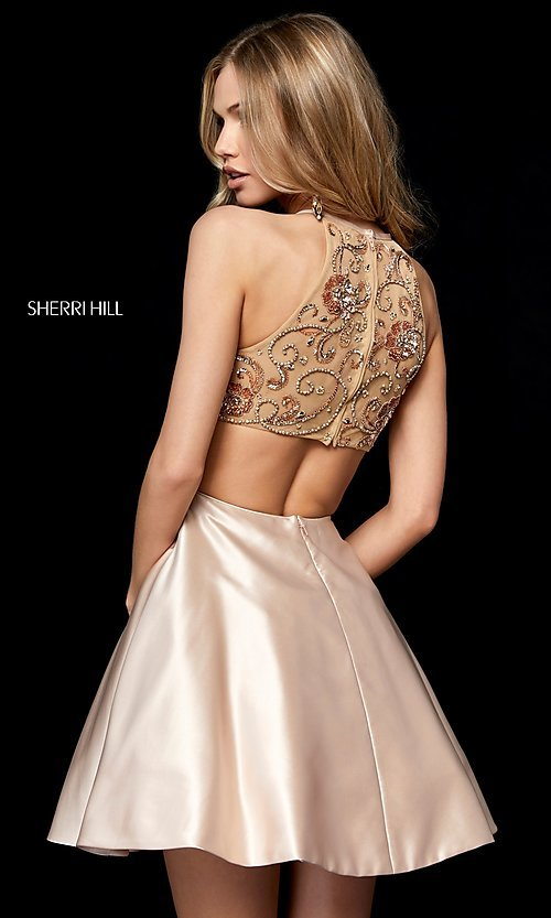 Image of Sherri Hill short homecoming dress with pockets. Style: SH-52232 Back Image