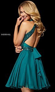 Image of fit-and-flare Sherri Hill hoco dress with beading. Style: SH-52281 Back Image
