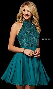Image of fit-and-flare Sherri Hill hoco dress with beading. Style: SH-52281 Detail Image 1
