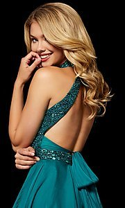Image of fit-and-flare Sherri Hill hoco dress with beading. Style: SH-52281 Detail Image 2