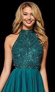 Image of fit-and-flare Sherri Hill hoco dress with beading. Style: SH-52281 Detail Image 3