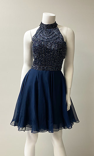 Fit-and-Flare Short Hoco Dress with Beaded Bodice