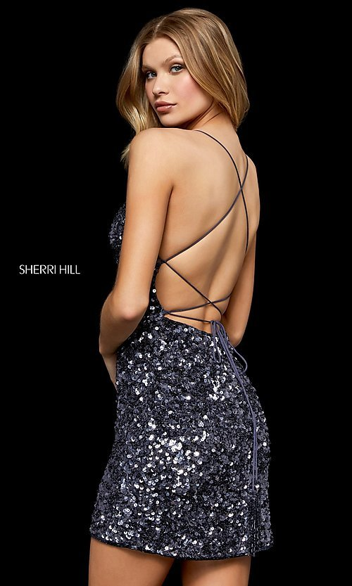 Image of short sequin homecoming dress by Sherri Hill. Style: SH-52227 Front Image
