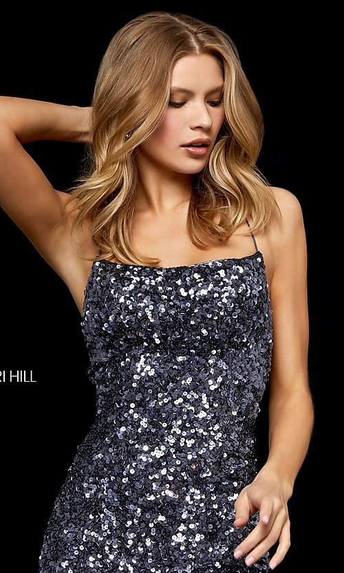 Image of short sequin homecoming dress by Sherri Hill. Style: SH-52227 Detail Image 1
