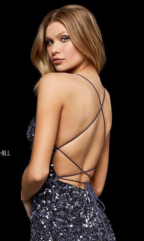 Image of short sequin homecoming dress by Sherri Hill. Style: SH-52227 Detail Image 2
