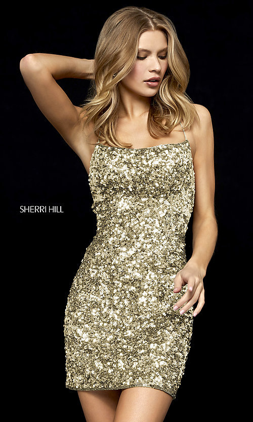 Image of short sequin homecoming dress by Sherri Hill. Style: SH-52227 Detail Image 3