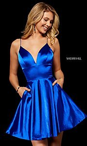 Image of v-neck silk homecoming dress with spaghetti straps. Style: SH-52291 Detail Image 1