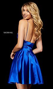 Image of v-neck silk homecoming dress with spaghetti straps. Style: SH-52291 Detail Image 2