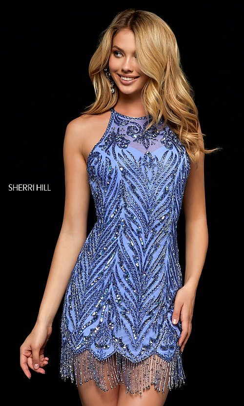 2a32538a Image of sequined short homecoming dress with beaded fringe. Style:  SH-52199 Front