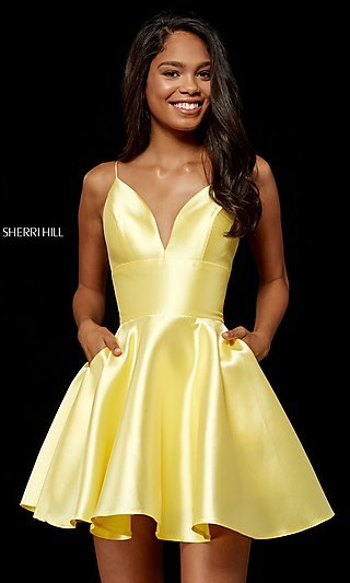 Short Mikado Homecoming Dress by Sherri Hill