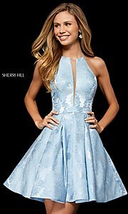 Image of high-neck fit-and-flare homecoming dress. Style: SH-52178 Front Image
