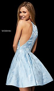 Image of high-neck fit-and-flare homecoming dress. Style: SH-52178 Back Image