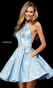 Image of high-neck fit-and-flare homecoming dress. Style: SH-52178 Detail Image 1