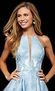 Image of high-neck fit-and-flare homecoming dress. Style: SH-52178 Detail Image 2