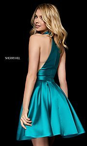 Image of short high-neck fit-and-flare homecoming dress. Style: SH-52181 Front Image